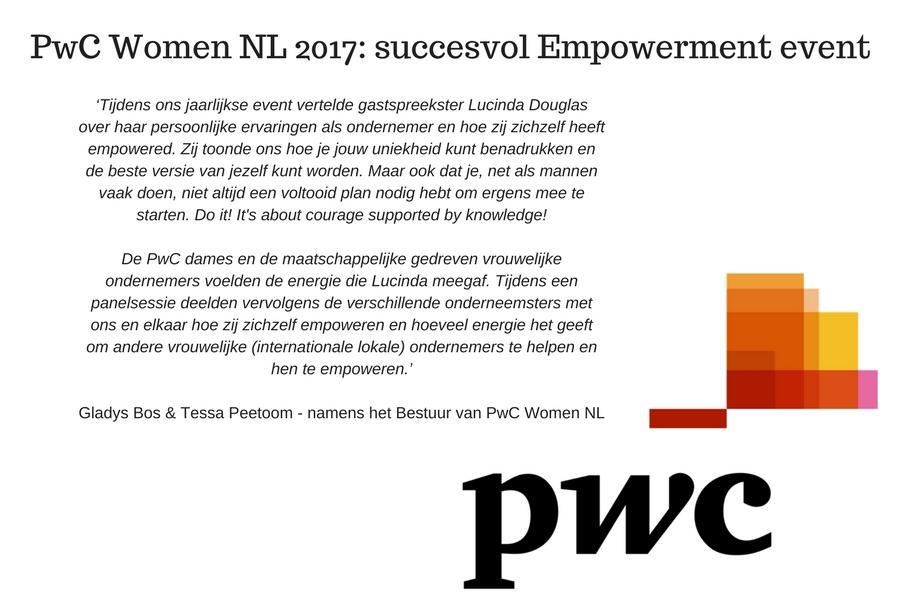 PWC Woman NL 2017 met empowerment spreker Lucinda Douglas