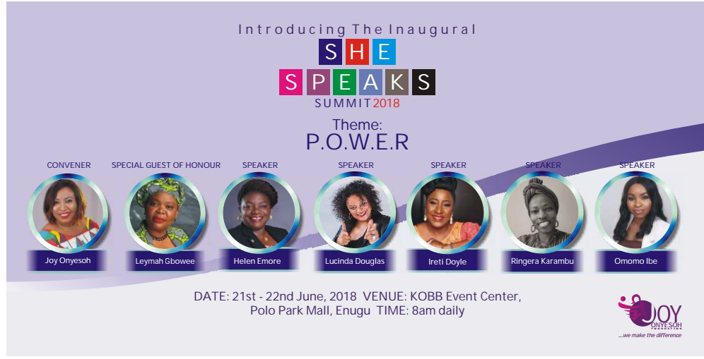She Speaks / Summit 2018 in Nigeria Empowerment Lucinda Douglas