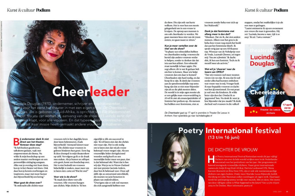 Opzij interviewt Lucinda Douglas over haar theatershow de Cheerleader