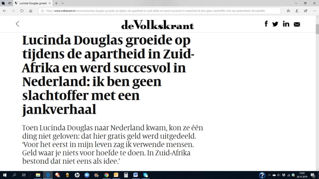 Volkskrant interviewt Lucinda Douglas